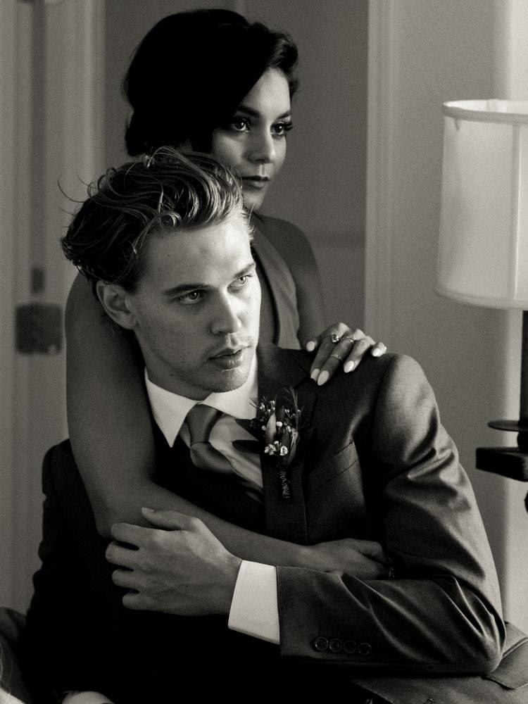 vanessa hudgens sitting with boyfriend austin butler during a wedding captured by los angeles wedding photographer dennis roy coronel
